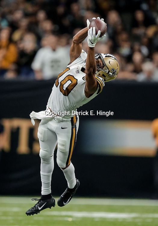 Nov 18, 2018; New Orleans, LA, USA; New Orleans Saints wide receiver Tre'Quan Smith (10) catches a pass against the Philadelphia Eagles during the second half at the Mercedes-Benz Superdome. Mandatory Credit: Derick E. Hingle-USA TODAY Sports