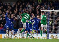 Football - 2018 / 2019 Premier League - Chelsea vs. Brighton & Hove Albion<br /> <br /> Bernado (Brighton & Hove Albion) strikes a late effort at the Chelsea goal at Stamford Bridge <br /> <br /> COLORSPORT/DANIEL BEARHAM