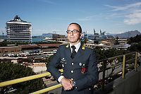 """PALERMO, ITALY - 6 JUNE 2016: Lieutenant Colonel Giuseppe Campobasso, Commander of the GOA unit (Gruppo Operativo Antidroga) part of the GICO (Gruppo Investigativo Criminalità Organizzata), who coordinated the seizures of vessels carrying hashish from Morocco to Libya, poses for a portrait at the Guardia di Finanzia (Financial Police) headquarters in Palermo, Italy, on June 6th 2016.<br /> <br /> Between January 2014 e December 2015 more than 120 tons of hashish, carried on fishing boats or cargo ships from Morocco to Libya, were seized in the Strait of Sicily by Italy's Guardia di Finanza (Financial Police) thanks to an international police investigation named """"Operazione Libeccio"""", carried out by the GICO (Gruppo Investigativo Criminalità Organizzata, Organised Crime Investigation Group), a unit of the tax police of Palermo under the supervision of the DDA (Direzione Distrettuale Antimafia) of Palermo.<br /> <br /> """"What is happening in Libya is same historical occurrence that happened years ago in Afghanistan. Such as the Talibans who financed their terroristic activities with heroin trafficking for the purchase of weapons, the Caliphate is proposing the same terroristic strategy by purchasing and commercialising hashish in order to purchase weapons used in their war"""" Sergio Barbera, Deputy General Prosecutor of Palermo, said."""