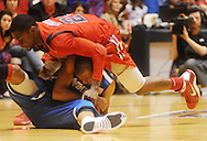 Mississippi's Terrico White (24) and Memphis' Wesley Witherspoon go for the ball during an NIT game in Oxford, Miss. on Friday, March 19, 2010. Mississippi won 90-81.