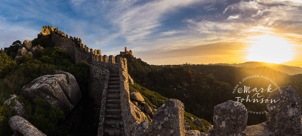 Moorish Castle (Castelo dos Morros) on left & Palace of Pena in background, Sintra, Portugal