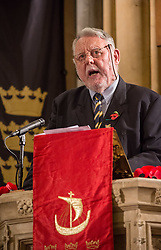 © Licensed to London News Pictures. 10/11/2018. Bristol, UK. TERRY WAITE gives an address at The Royal British Legion Festival of Remembrance 1918-2018 at Bristol Cathedral. On the eve of the Centenary of the end of the First World War the Royal British Legion holds a special Festival of Remembrance in Bristol Cathedral, bringing together musical talent from across the region presenting a poignant tribute from a variety of local performers. The second part of the evening will crescendo with a performance of Karl Jenkins' The Peacemakers by the 120 Members of Lucis and Noctis Choirs and the Southern Sinfonia Orchestra directed by Francis Faux. The piece is dedicated to all those who have lost their lives during armed conflict. During WW1 Soldiers from all over the World from numerous Continents, Commonwealth Countries and Nations Worldwide of all faiths castes creeds and religions served fought and died for Britain. The British Empire's colonies sent over two and a half million men to fight for Britain during the war, and 400,000 Muslims fought for Great Britain. The Lord Mayor Cleo Lake with Kizzy Morell represents the 60,000 Black South Africans, 15,600 Caribbean and 120,000 Africans who fought in WW1.<br /> Babbi Channa represents the 100,000 Sikhs, One million Indians who fought in WW1<br /> Chinese lady; Represents 140,000 Chinese Labour Corps Members<br /> Muslim lady; Representing the 400,000 Muslims who fought in WW1<br /> Nepalese lady; Representing the 90,000 Ghurkhas who fought in WW1<br /> (Last three representatives pupils from Badminton School )<br /> Photo credit: Simon Chapman/LNP