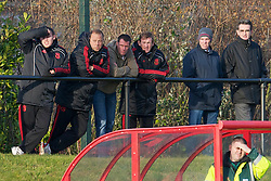 KIRKBY, ENGLAND - Tuesday, November 16, 2010: Liverpool's Academy Under-18 coach Rodolfo Borrell, Jamie Carragher and Kenny Dalglish watch the reserves take on Blackpool during the FA Premiership Reserves League (Northern Division) match at the Kirkby Academy. (Pic by: David Rawcliffe/Propaganda)
