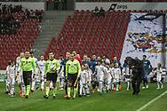 FODBOLD: De to hold går på banen til kampen i ALKA Superligaen mellem FC København og FC Helsingør den 12. marts 2018 i Telia Parken. Foto: Claus Birch.