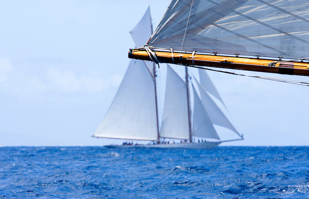 The boom of an unidentified boat at the 2008 Antigua Classic Yacht Regatta. The boat in the background is the schooner yacht 'Eleanora' This race is one of the worlds most prestigious traditional yacht races. It takes place annually off the coast of Antigua in the British West Indies.