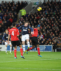 Man Utd Forward Wayne Rooney (ENG) goes close with a headed chance - Photo mandatory by-line: Joseph Meredith/JMP - Tel: Mobile: 07966 386802 - 24/11/2013 - SPORT - FOOTBALL - Cardiff City Stadium - Cardiff City v Manchester United - Barclays Premier League.