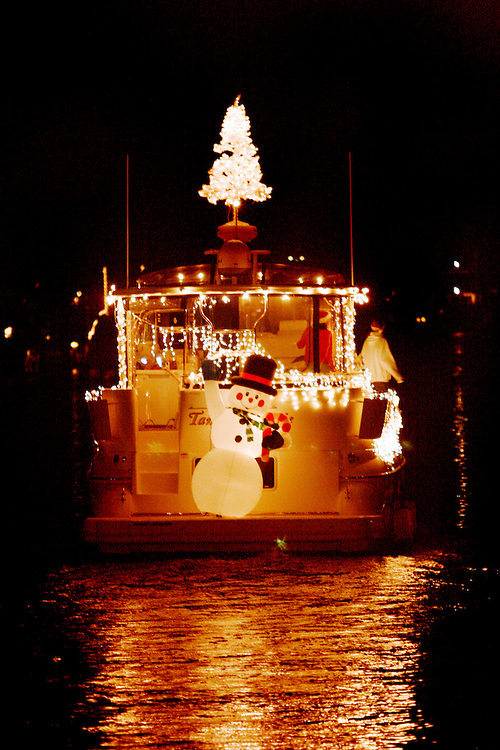 The boat's route at the Carolina Beach Island of Lights Flotilla was to cruise from Snows Cut to Carolina Beach Boat Basin and back. Here the Ashley High School Boat makes its way back up the towards Snow's Cut.
