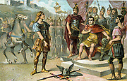Vercingetorix, Gaulish leader who raised a revolt against Julius Caesar in 52 BC. Finally defeated and put to death in 46 BC.  Vercingetorix submitting to Caesar. France Roman French Nineteenth century Trade Card Chromolithograph