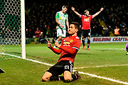 Goal - Ander Herrera (21) of Manchester United celebrates scores a goal to give a 0-2 lead to the away team during the The FA Cup 4th round match between Yeovil Town and Manchester United at Huish Park, Yeovil, England on 26 January 2018. Photo by Graham Hunt.