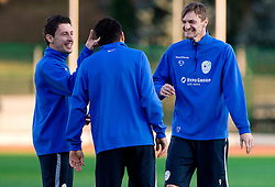 Robert Koren, Aleksander Radosavljevic and Milivoje Novakovic of Slovenian National football team at practice a day before the last 2010 FIFA Qualifications match between San Marino and Slovenia, on October 13, 2009, in Olimpico Stadium, Serravalle, San Marino.  (Photo by Vid Ponikvar / Sportida)