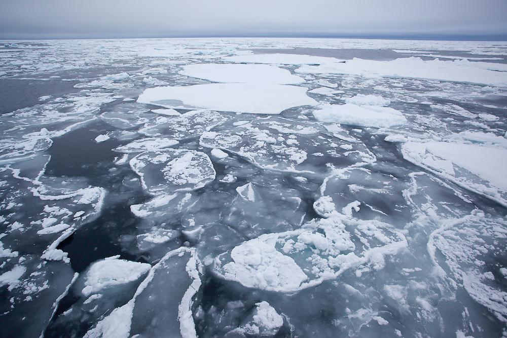 Pack ice on sea, Hinlopen Strait, Svalbard, Norway.