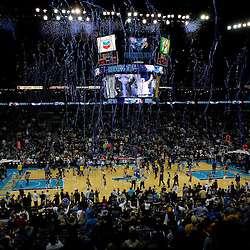 January 22, 2011; New Orleans, LA, USA; A general view from the stands as confetti falls from the ceiling following a New Orleans Hornets win over the San Antonio Spurs at the New Orleans Arena. The Hornets defeated the Spurs 96-72.  Mandatory Credit: Derick E. Hingle