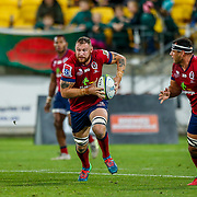 Scott Higginbotham (captain) runs with the ball during the Super rugby union game (Round 14) played between Hurricanes v Reds, on 18 May 2018, at Westpac Stadium, Wellington, New  Zealand.    Hurricanes won 38-34.