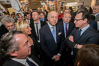 LYON, FRANCE - JANUARY 24:  French minister of Foreign Affairs, Laurent Fabius attends the official opening of SIRHA gastronomic fair, with Jean-Jack Queyranne and Gerard Collomb, Rhone Alps politics on January 24, 2015 in Lyon, France.  (Photo by Bruno Vigneron/Getty Images)