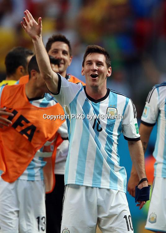 Fifa Soccer World Cup - Brazil 2014 - <br /> ARGENTINA (ARG) Vs. BELGIUM (BEL) - Quarter-finals - Estadio Nacional Brasilia -- Brazil (BRA) - 05 July 2014 <br /> Here Argentine players celebrating after finish the match<br /> Lionel Messi<br /> &copy; PikoPress