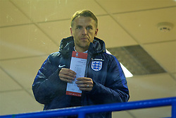 WIDNES, ENGLAND - Wednesday, February 7, 2018: New England national women's team manager Phil Neville checks out the team-sheet before the FA Women's Super League 1 match between Liverpool Ladies FC and Arsenal Ladies FC at the Halton Stadium. (Pic by David Rawcliffe/Propaganda)