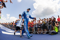 August 12, 2018 - Brooklyn, MI, U.S. - BROOKLYN, MI - AUGUST 12: Monster Energy NASCAR Cup Series driver Kevin Harvick (4) greets fans during driver introductions before the Monster Energy NASCAR Cup Series Consumers Energy 400 at Michigan International Speedway on August 12, 2018 in Brooklyn, Michigan.(Photo by Adam Lacy/Icon Sportswire) (Credit Image: © Adam Lacy/Icon SMI via ZUMA Press)