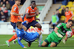 Harry Beautyman of Peterborough United is denied by Mark Tyler of Luton Town - Mandatory byline: Joe Dent/JMP - 06/12/2015 - Football - ABAX Stadium - Peterborough, England - Peterborough United v Luton Town - FA Cup