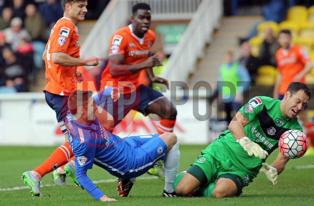Harry Beautyman of Peterborough United is denied by Mark Tyler of Luton Town - Mandatory byline: Joe Dent/JMP - 06/12/2015 - Football - ABAX Stadium - Peterborough, England - Peterborough United v Luton Town - FA Cup