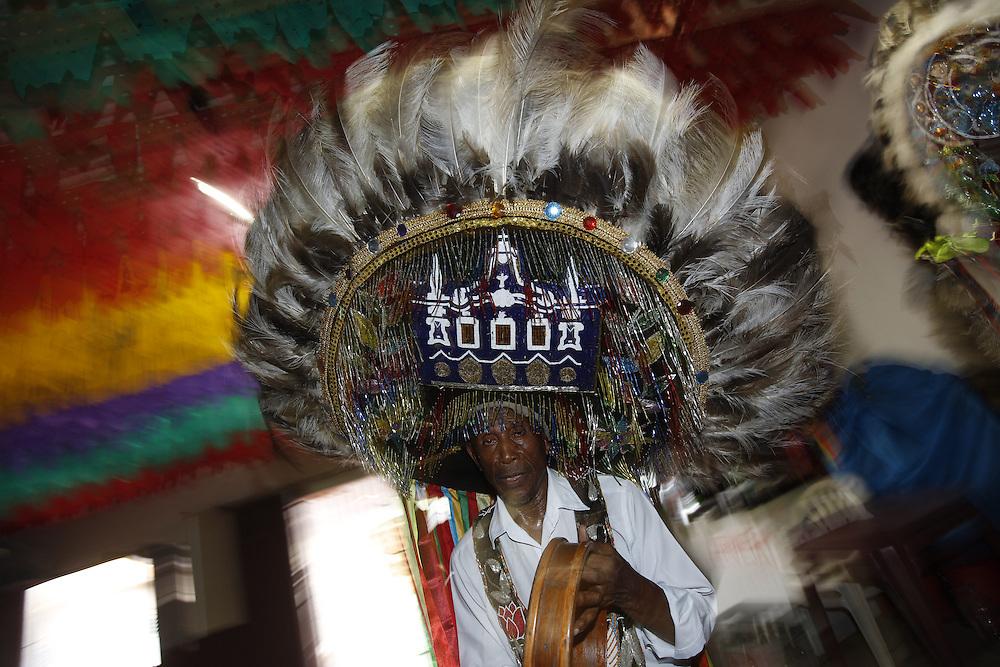 Sao Luis_MA, Brasil.<br /> <br /> Grupo de Bumba meu Boi Santa Fe, de Mestre Olhinho em Sao Luis, Maranhao.<br /> <br /> Bumba meu Boi group, Santa Fe, by Master Olhinho in Sao Luis, Maranhao.<br /> <br /> Foto: LEO DRUMOND / NITRO