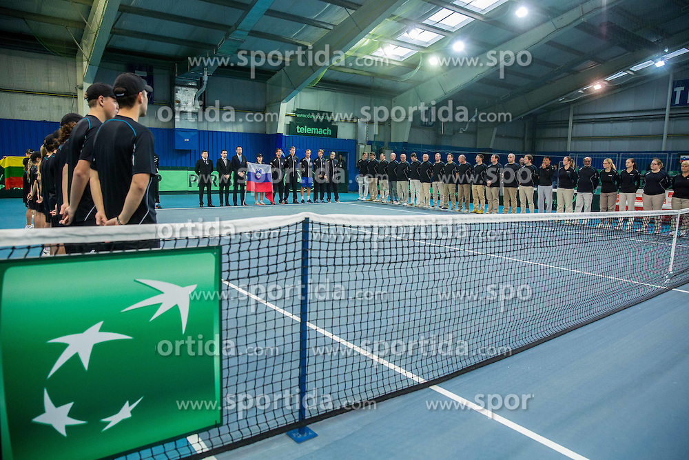 Opening ceremony during Davis Cup Slovenia vs Lithuania competition, on October 30, 2015 in Kranj, Slovenia. Photo by Vid Ponikvar / Sportida