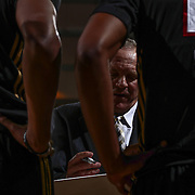 Erie BayHawks Head Coach BILL PETERSON draws up a  play during a time out in the first half of a NBA D-league regular season basketball game between the Delaware 87ers and the Erie BayHawks Tuesday, Mar. 29, 2016, at The Bob Carpenter Sports Convocation Center in Newark, DEL.