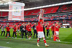 Luke Ayling lift up the Football League Trophy after Bristol City win the match 2-0 - Photo mandatory by-line: Rogan Thomson/JMP - 07966 386802 - 22/03/2015 - SPORT - FOOTBALL - London, England - Wembley Stadium - Bristol City v Walsall - Johnstone's Paint Trophy Final.