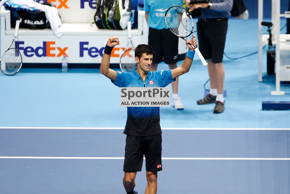 Novak Djokovic celebrates winning the ATP World Tour Final match between Novak Djokovic and Roger Federer at the O2 Arena, London 2015.  on November 22, 2015 in London, England. (Credit: SAM TODD | SportPix.org.uk)