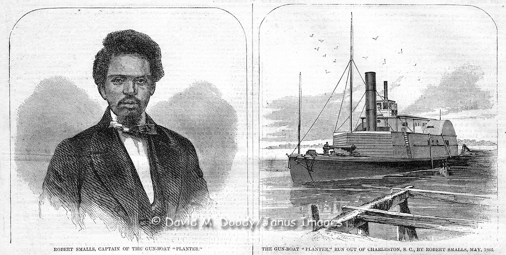 "The capture of the rebel gunboat ""Planter"" by a crew of blacks led by Robert Smalls at Charleston. Blacks now livng free in South Carolina. Harper's Weekly 1862"
