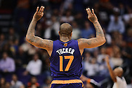 Nov 15, 2013; Phoenix, AZ, USA; Phoenix Suns forward P.J Tucker (17) reacts after making a three point basket against the Brooklyn Nets in the first half at US Airways Center. Mandatory Credit: Jennifer Stewart-USA TODAY Sports