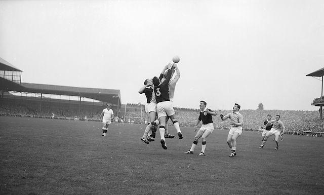 All Ireland Senior Football Final Galway v. Dublin, Croke Park..N. Tierney (3) Galway Full Back punches clear .22.09.1963
