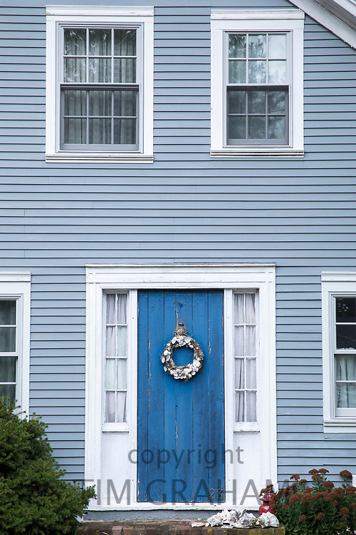 Traditional wooden timber clapboard architecture house near Dennis Town historic village, Cape Cod, New England, USA