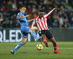 January 19, 2018 - Getafe, Spain - Cala of Getafe competes for the ball with Inaki Williams (R) of Athletic Club during the La Liga match between Getafe and Athletic Club at Coliseum Alfonso Perez on January 19, 2018 in Getafe, Spain. (Credit Image: © Raddad Jebarah/NurPhoto via ZUMA Press)