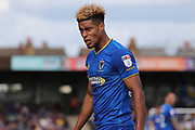 AFC Wimbledon striker Lyle Taylor (33) not looking very happy during the EFL Sky Bet League 1 match between AFC Wimbledon and Shrewsbury Town at the Cherry Red Records Stadium, Kingston, England on 12 August 2017. Photo by Matthew Redman.