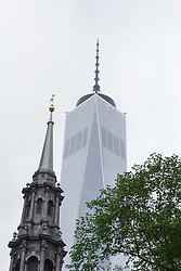 Trinity Church and One World Trade in New York City