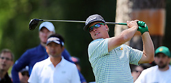 April 7, 2017 - Augusta, GA, USA - Charley Hoffman hits from the 17th tee during the second round of the Masters Tournament at Augusta National Golf Club in Augusta, Ga., on Friday, April 7, 2017. (Credit Image: © Curtis Compton/TNS via ZUMA Wire)