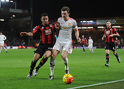 Joshua King of Bournemouth battles for the ball with Michael Carrick of Manchester United - Mandatory byline: Alex James/JMP - 12/12/2015 - Football - Vitality Stadium - Bournemouth, England - AFC Bournemouth v Manchester United - Barclays Premier League