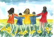 "Dancing in the Daffodils. Watercolor. 12x16"". ©JoAnn Hawkins"