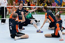 11-05-2013 VOLLEYBAL: EREDIVISIE ZITVOLLEYBAL HF BVC HOLYOKE - KINDERCENTRUM ALTERNO : BELFELD<br /> Bjorn Moris van BVC Holyoke viert een gewonnen punt<br /> &copy;2013-FotoHoogendoorn.nl / Pim Waslander