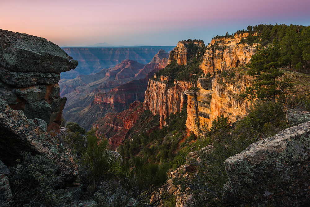 First light on the North Rim of Grand Canyon National Park in Arizona.