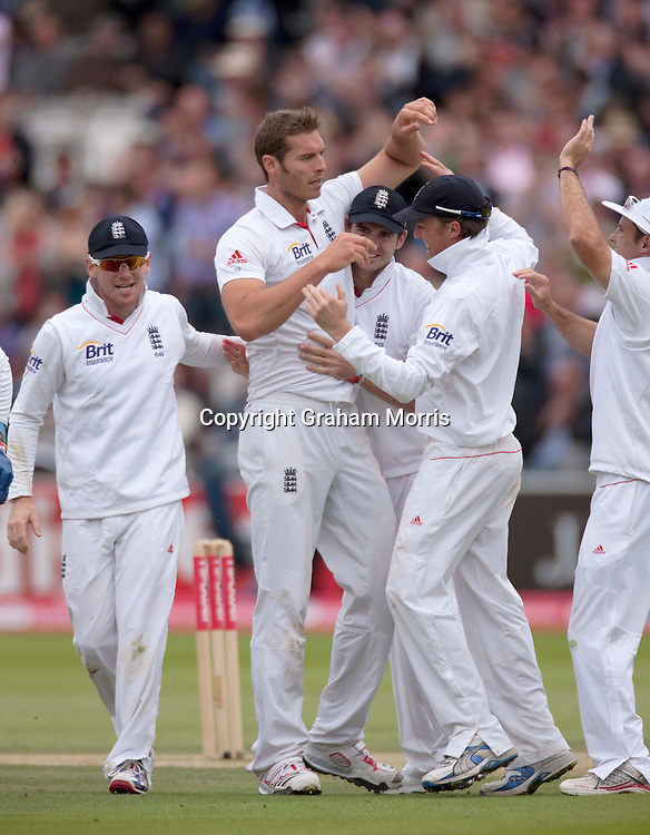 Bowler Chris Tremlett celebrates taking the wicket of VVS Laxman during the first npower Test Match between England and India at Lord's Cricket Ground, London.  Photo: Graham Morris (Tel: +44(0)20 8969 4192 Email: sales@cricketpix.com) 23/07/11