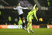 Brighton's Bobby Zamora & Derby County's Richard Keogh during the Sky Bet Championship match between Derby County and Brighton and Hove Albion at the iPro Stadium, Derby, England on 12 December 2015. Photo by Shane Healey.