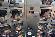 Nederland, Druten, 27-2-2010Langs de weg staat bij een fruitteler een fruitautomaat. Hier kan men vers fruit, appels, uit een automaat halen.Foto: Flip Franssen/Hollandse Hoogte