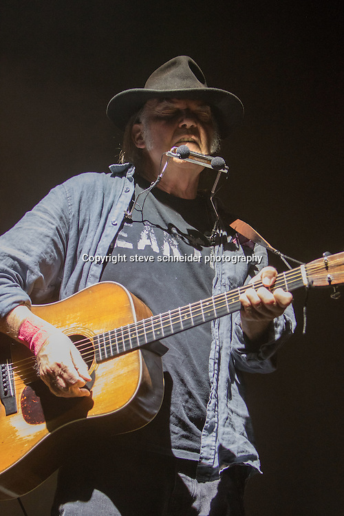 Neil Young and The Promise of the Real band, with WIllie Nelsons sons Lukas & Micah, play at the WAMU Theatre in Seattle, WA on 10-4-2015
