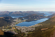 Ørsta is a municipality in the county Møre og Romsdal, located in the west coast of Norway | Ørsta sentrum med Hovdebygda.