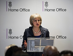 © Licensed to London News Pictures. 23/07/2015. London, UK. British home Secretary THERESA MAY delivers a speech on the relationship between police and the community at Brixton Recreation Centre in Brixton, south London.  Photo credit: Ben Cawthra/LNP