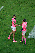 Waisea Nayacalevu Vuidravuwalu (Stade Francais) and Julien Arias (Stade Francais) during the French championship Top 14 Rugby Union match between Stade Francais Paris and Racing Metro 92 on December 3, 2017 at Jean Bouin stadium in Paris, France - Photo Stephane Allaman / ProSportsImages / DPPI