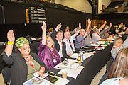 PCS delegates voting at the TUC congress 2016, Brighton. UK.
