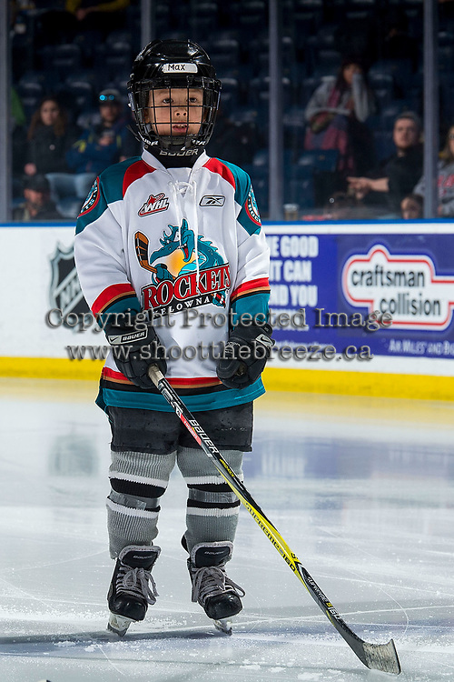 KELOWNA, CANADA - MARCH 13: Maximus Fogarty lines up as the Pepsi Player of the game against the Spokane Chiefs on March 13, 2019 at Prospera Place in Kelowna, British Columbia, Canada.  (Photo by Marissa Baecker/Shoot the Breeze)
