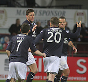 Iain Davidson is congratulated after heading the only goal of the game to give Dundee three vital points - Dundee  v Queen of the South - SPFL Championship at Dens Park<br /> <br />  - &copy; David Young - www.davidyoungphoto.co.uk - email: davidyoungphoto@gmail.com